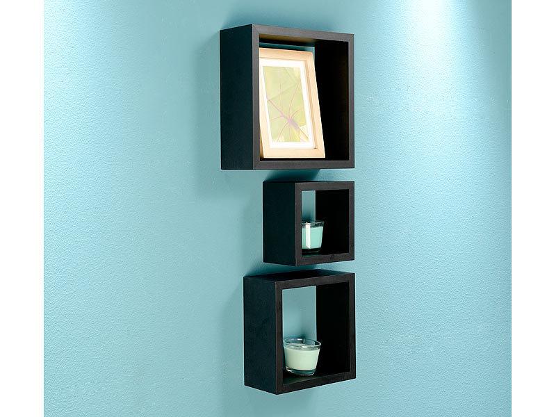 Wand Regale carlo 3er set quadratische wandregale bis 25 x 25 x 9 cm