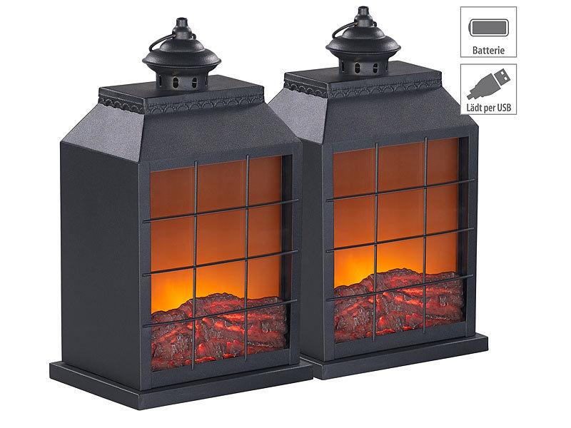 USB- /& Batterie-Betrieb Flammen-Optik LED-Elektro-Kamin Carlo Milano Dekorations-Kamin: 2er-Set Elektro-Deko-Kamine