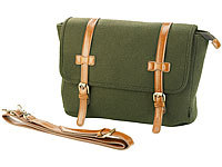 Carlo Milano Messenger-Bag im Querformat, in Filz & Leder-Optik